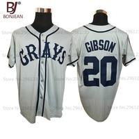Goedkope Josh Gibson #20 Homestead Grays Negro Nationale League Button Down Baseball Jersey Grijs Gestikt Throwback Mens