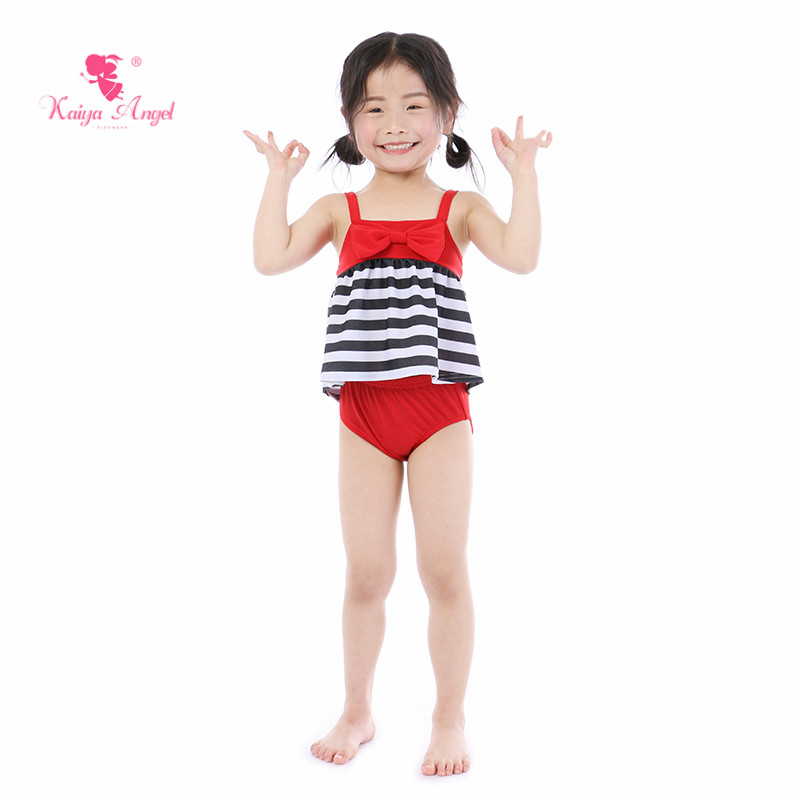 Kaiya Angel New Baby Girl Swimwesr Summer Two Pieces Red Bow Black White Stripes Cute Lovely Style 5pcs/lot Factory Wholesale
