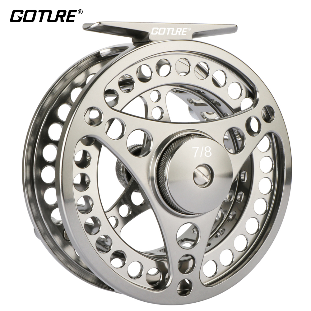 Goture 3/4 5/6 7/8 9/10 WT Fly Fishing Reel CNC Machine Fly Wheel Large Arbor Waterproof Fishing Fly Reel Coil with Bag maxcatch fly fishing box with foam waterproof large room fishing suitcase