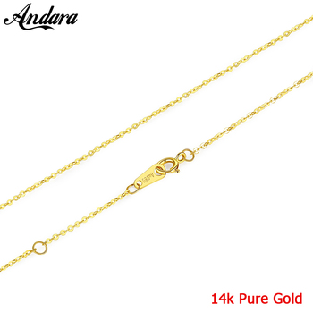 Classic Basic Chain Real 100% 14K Gold Necklace Fashion Simple O Round Shape Chain Necklace Women Jewelry Accessories