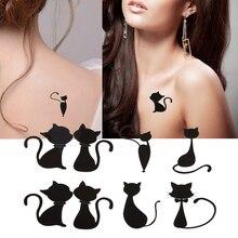 10 Sheets Sex Cat Tattoo Stickers Temporary Waterproof Body Art Sticker Decoration DIY Art Beauty Women Makeup Stickers