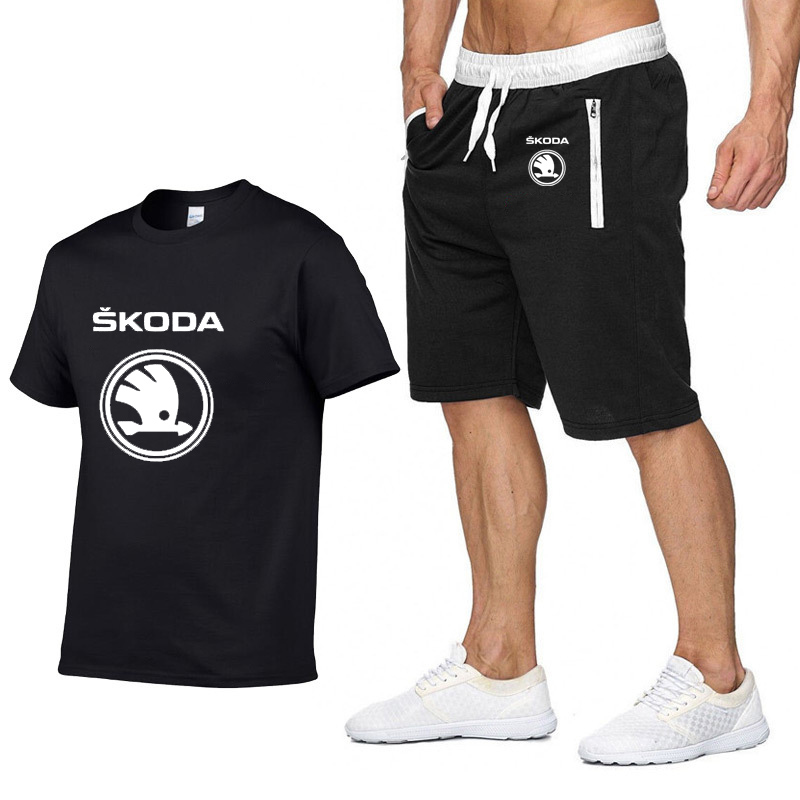 Mens Short sleeve Skoda Car Logo Summer Mens   t     Shirt   Hip Hop Harajuku   T  -  Shirt   high quality Cotton   T     Shirts   pants suit Sportswear