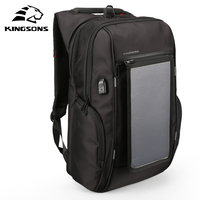 Kingsons 15.6 inch Solar Panel Backpacks Laptop Bags Charging Convenient for Day Packets Solar Charger Travel Backpack