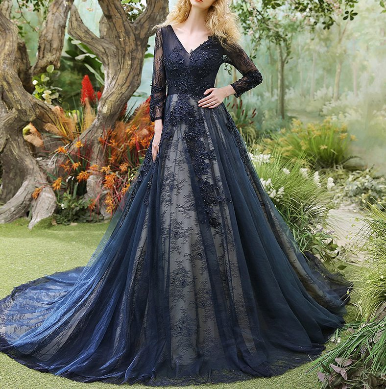 vintage dark navy wedding dresses with sleeves lace garden wedding dress gothic bridal gowns buy direct from china 2017 luxury