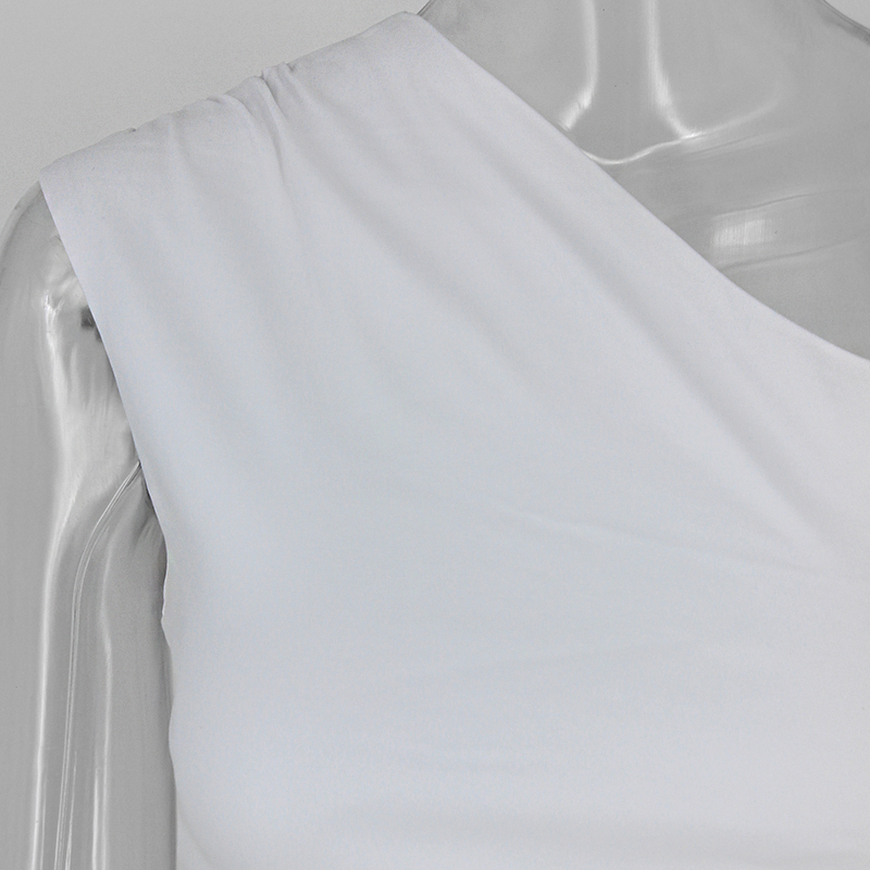 One Shoulder 2 Piece White Bodycon Dress 6