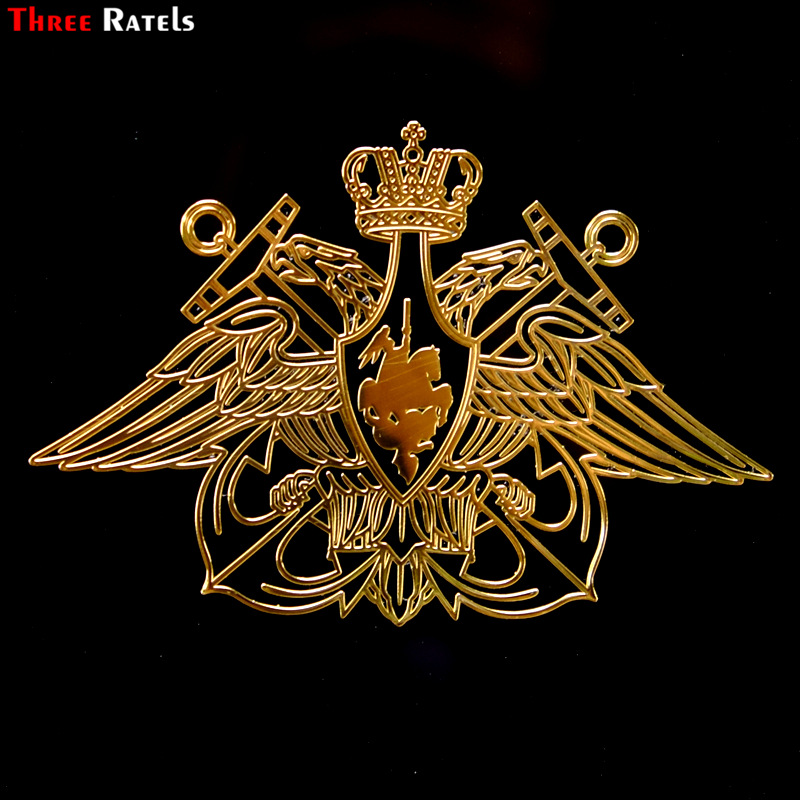 Three Ratels MT-029# 54*80mm Navy Of The Russian Federation Russia Two-headed Eagle Metal Golden Nickel Car Sticker