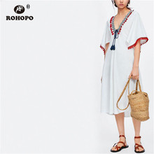 ROHOPO Women Patchwork Neckline Tassel Retro Pleated Midi Dress Embroidery Chic Tunic Flared White Vintage Vestido #OYK9712