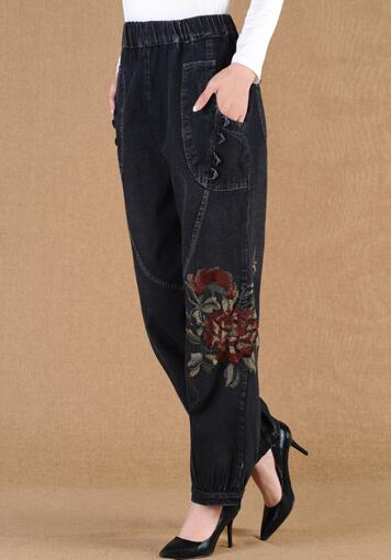 583b714902976 Embroidery pants for women plus size elastic waist denim jeans casual black  bloomers pants spring autumn high waist hxn0701-in Jeans from Women s  Clothing ...