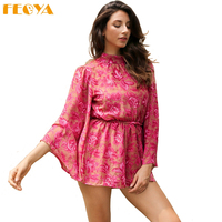 Feoya Backless Flared Sleeves Women Jumpsuit Romper Overalls Print Lining Bodysuits Bow Lace Up Sexy Playsuits Summer Shorts