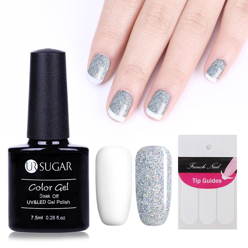 UR SUGAR 2Pcs Black White Gel Nail Polish Soak Off UV Gel Lacquer ...