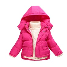Baby New Infant Snow Wear Winter Outwear Hooded White Duck Down Jacket for Boy and Girl
