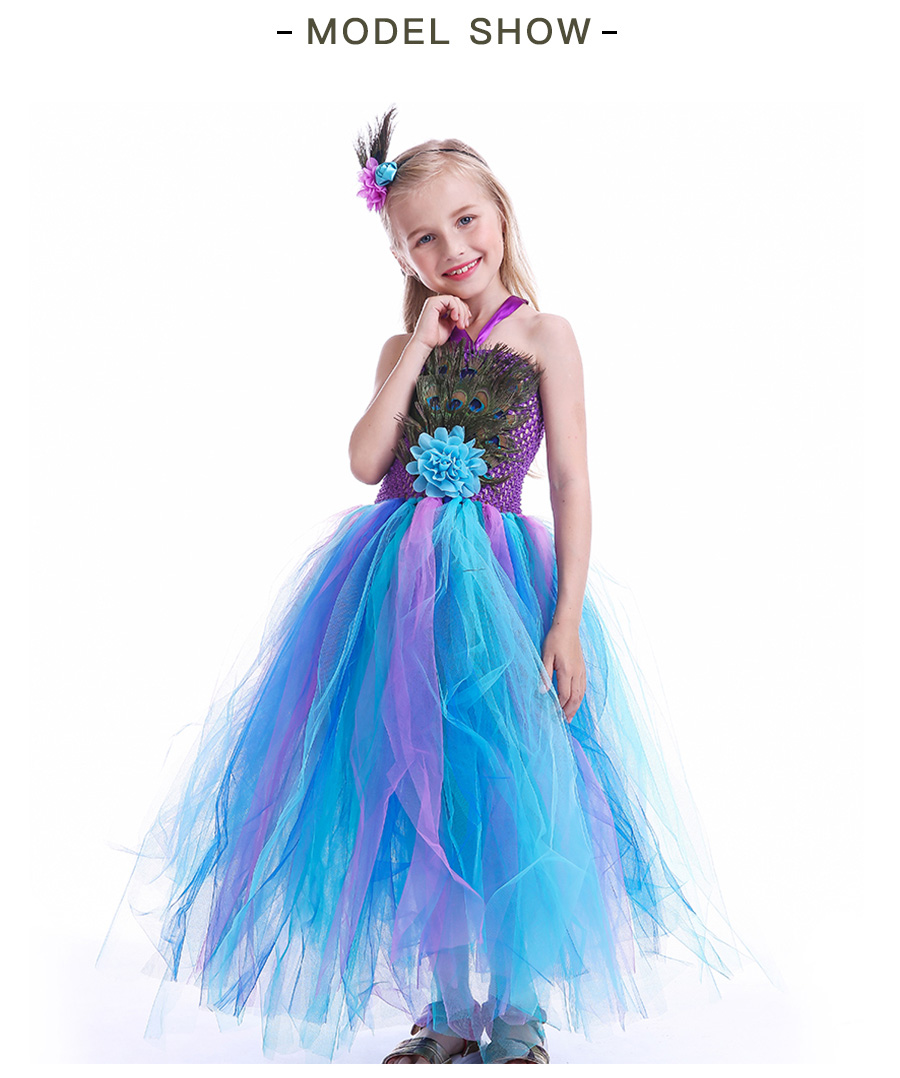 Peacock Feather Girl Tutu Dress Baby Peacock Dress with Hair Accessories  Halloween Pageant Wedding Glam Costume Party Outfit (10)