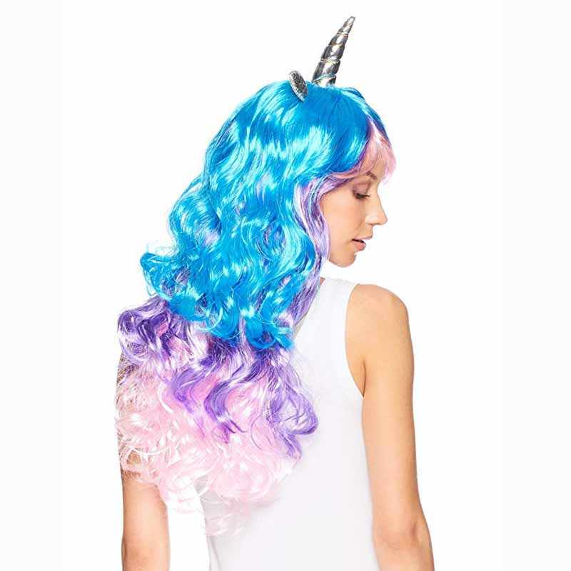 01c0f3a59c0a5 Rainbow Unicorn Cosplay Wig Headband Halloween Costumes for kid adult  birthday Bachelorette Hen Party Girl Night