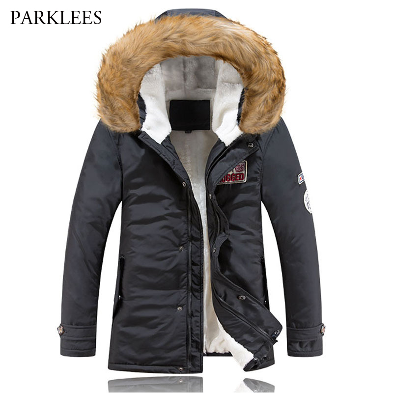 Classic Big Fur Hooded Parka Men Parka Homme 2017 Winter Padded Fleece Down Long Mens Thick Warm Parkas Coats Male Outwear XXXL