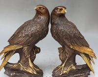 Copper Brass CHINESE crafts decoration Asian 10 Marked Chinese BRASS Gilt Carving Parrot Bird Eagle Tree Pair Sculpture