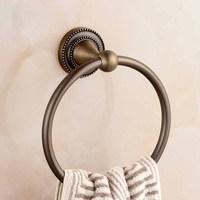 Bathroom Hardware Pendant Round European Bronze Towel Hinge Antique Wall Mounted Towel Holder Bathroom Towel Rings