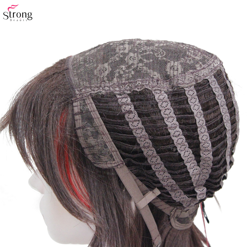 Image 5 - Synthetic Wigs punk Hairstyle Short Straight Hair Black/Red Wig Man StrongBeautySynthetic None-Lace  Wigs   -