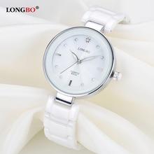 Fashion Longbo Brand Women Luxury Watches Top White Ceramic Quartz Watch Ladies Casual Simple Waterproof Wristwatch For Woman