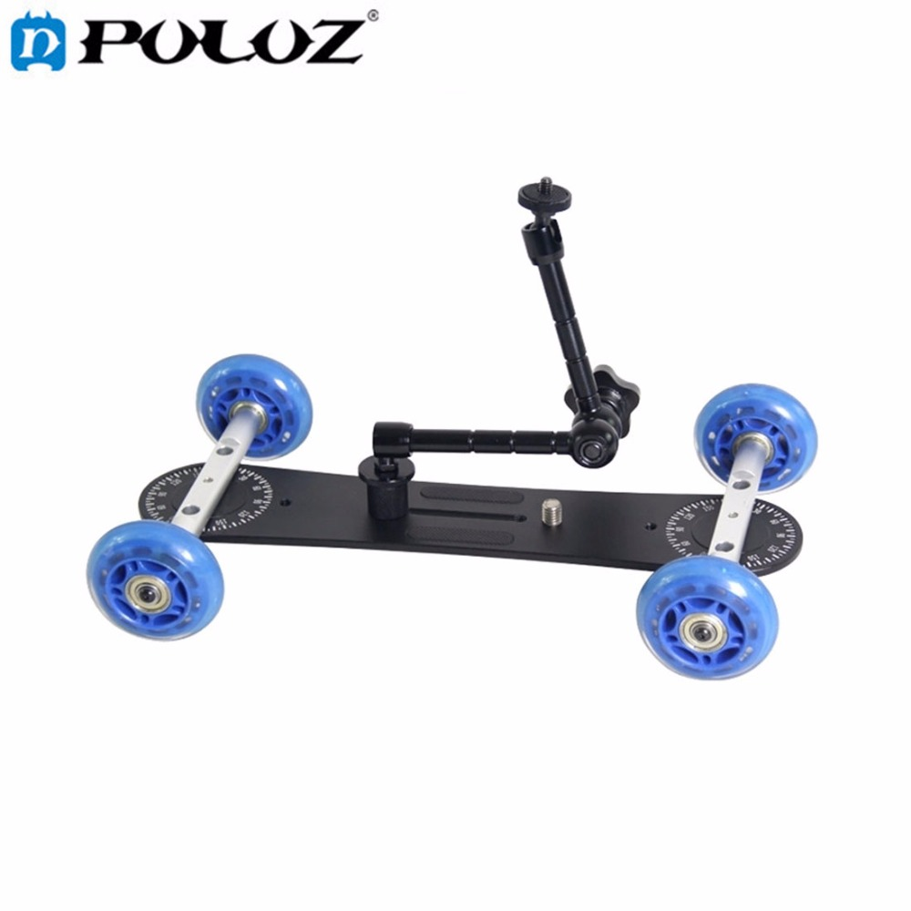 PULUZ Camera Slider Scaled Camera Dolly Track Car Four-wheeler Steadicam Stabilizer for Canon / Nikon D3300 / DSLR Camera punti di vista nuance hair color cream with ceramide крем краска для волос с керамидами тон 12 0 100 мл