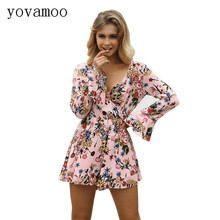 Yovamoo Boho Floral Print V-neck Long Sleeve Overalls Streetwear Short Sexy Jumpsuit Casual Women Rompers Playsuit