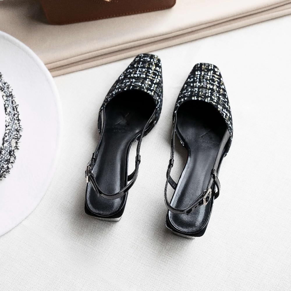 Cuadrado Pie L21 Negro Zapato Bastante Sandalias Hueco Cuero Del Chicas Oveja Tacones Lujo La Med Grueso Lenkisen De Dedo Vintage Elegantes Correa Hebilla czY1WnnH
