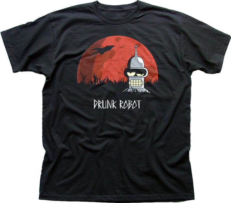 Hommes De Mode MAL BU ROBOT Bender film logo noir coton t-shirt 9888 Imprimé t shirt Hommes t shirt Casual Tops