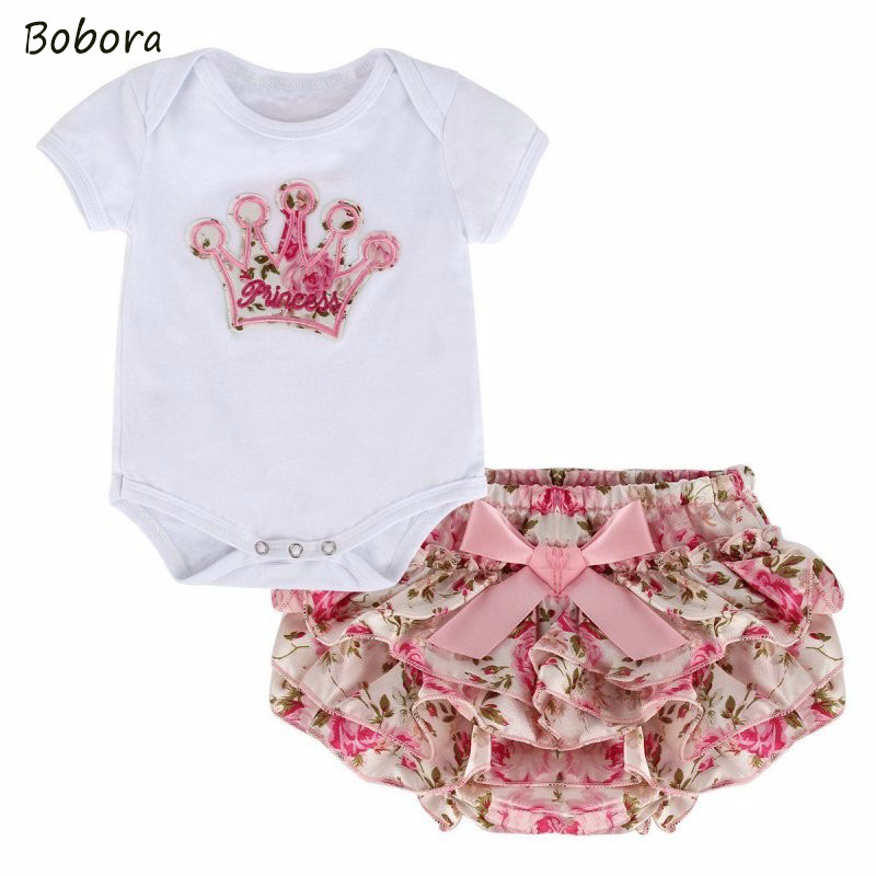 Summer Infant Newborn Toddler Baby Girls Outfit Clothes Romper Jumpsuit Bodysuit+Pants Set 2pcs For 0-18M kids infant baby boy girl 2pcs clothes set kids short sleeve you serious clark letters romper tops car print pants 2pcs outfit set