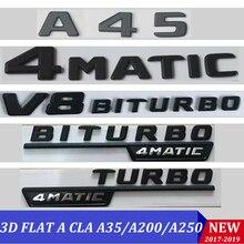 สีดำแบน 3D W176 W177 สติกเกอร์A45 A180 A200 A250 AutoรถตัวอักษรTrunkด้านหลังStar 4MATIC EmblemaสำหรับMercedes Benz AMG