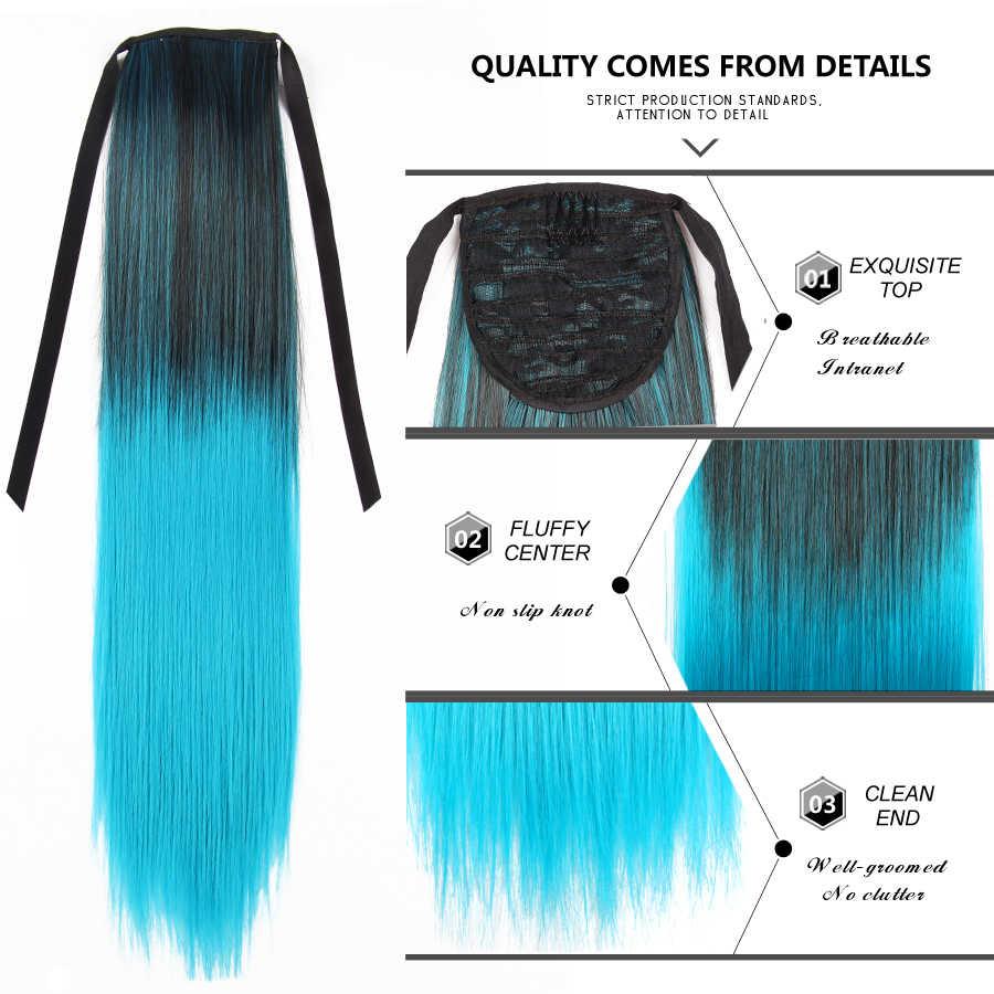 Alileader 20 polegadas extensões de cabelo de seda encaracolado rabo de cavalo hairpieces colorido sintético cordão rabo de cavalo preto marrom dourado vermelho