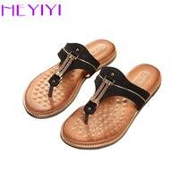 HEYIYI Women Shoes Flat Heel Flip Flops EVA Soft Insole Metal Decoration Massage Rome Style Plus