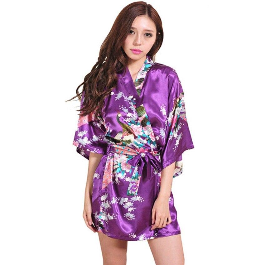 Kimono púrpura Albornoces para las mujeres satén Albornoz seda larga ...