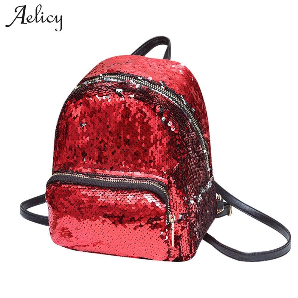 f03cbe1ba4b New backpack female 1PC Women Bag Fashion Sequins Backpack Girls Small  Travel Princess Bling Backpacks students school bags