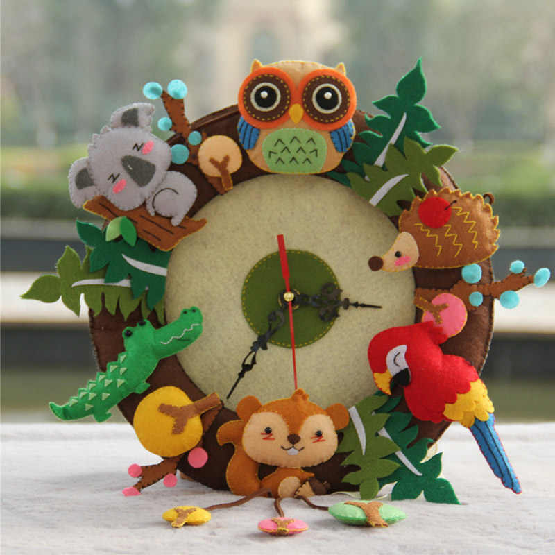 DIY  Cartoon Owl Music Shape Wall Clock Non Woven Living Room Handmade Clocks Free Cutting Cloth Hanging Clocks