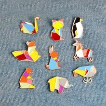 1 pièce dessin animé Origami Animal métal émail bouton broches Badge lapin cygne baleine renard écureuil cheval pingouin broche bijoux