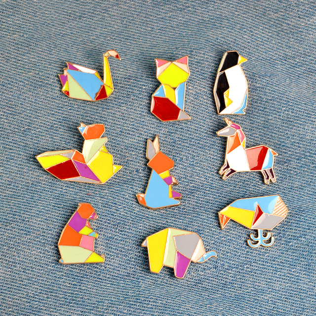 1 piece Cartoon Origami Animal Metal Enamel Button Pins Badge Rabbit Swan Whale