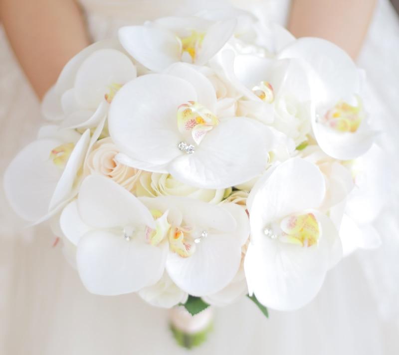JaneVini Bouquet de Boda Occidental para Novias Flores Artificiales - Accesorios de boda - foto 4