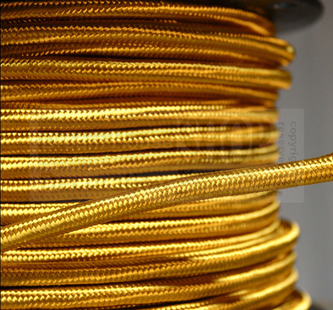 Free shipping Vintage style gold color ROUND 3 Core Braided Fabric Cable Lighting Lamp Flex Vintage