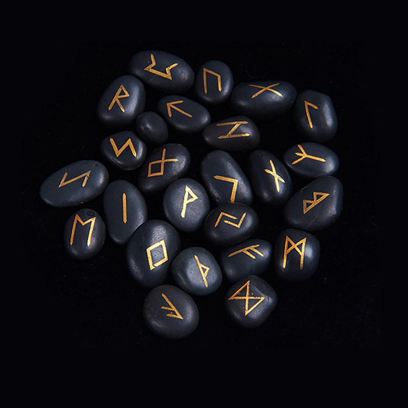 25pcs/set Riverstones Runes Stones With BlackTablecloth/Bag Engraved  Carved Black Lettering Feng Shui Board Game Accessory