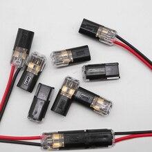 משלוח חינם 5 100 Pcs 2 פין דרך אביב ויסקי נעילה מחבר 24 18AWG חוט עבור LED רצועת מהיר אחוי מחבר כבל מלחץ