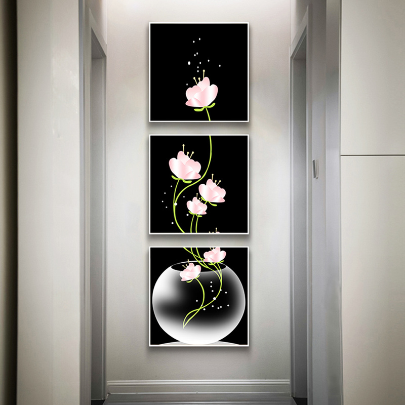 3 Panels Canavs Painting Flowers Poster Nordic Wall Pictures For Living Room Scandinavian Hallway Decoration Abstract Wall Art
