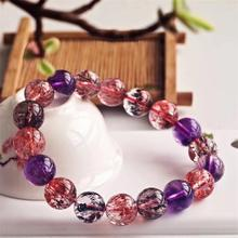 Newly Natural Super Seven 7 Lepidocrocite Quartz Rutilated Crystal Round Beads Bracelet 11mm Women AAAAAA Certificate