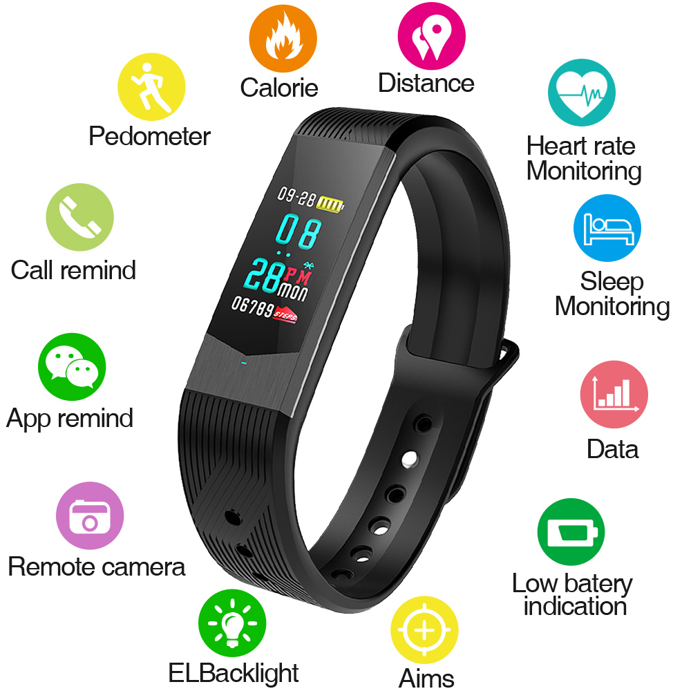SKMEI Fitness Women Smart Watch Men Bluetooth Heart Rate Blood Pressure Pedometer Clock LED Sport Watch