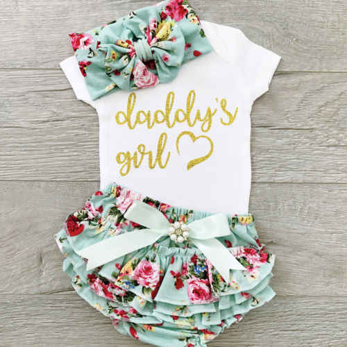 3PCS Lovely Children Girls Cotton Outfits Sets 0-2T Toddler Baby Girls Sets Cotton Tops Romper Floral Pants Outfits Sets