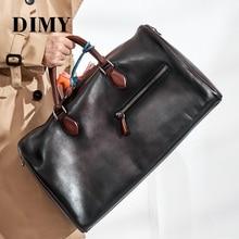 Купить с кэшбэком Dimy NEW Travel Duffle Bag Cow Genuine Leather Men's Travel Bags Round Bucket Shaped Messenger Bag Totes Vintage Handbags