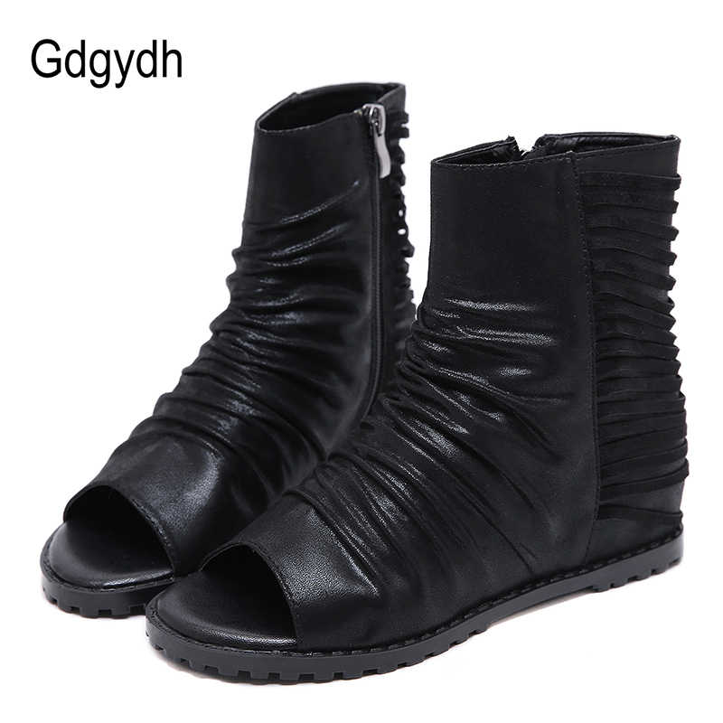 Gdgydh 2019 ฤดูใบไม้ผลิฤดูร้อนใหม่รองเท้าผู้หญิงหนังสีดำหญิงรองเท้าความสูงเพิ่ม Peep Toe รองเท้าผู้หญิงรองเท้าซิป