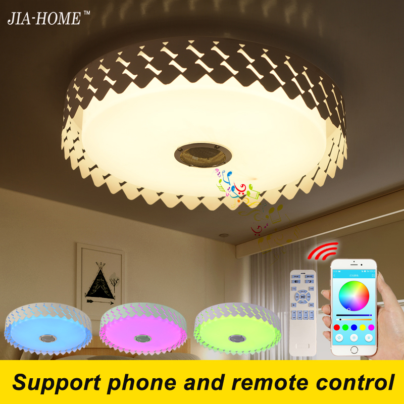RGB Dimmer ceiling light fixtures flush mount with phone APP speaker or remote control dome acrylic 36W led lamp for ceiling black and white round lamp modern led light remote control dimmer ceiling lighting home fixtures