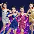 Девушки Блестками Латинской Танцевальная Одежда платье Дети Sakting Сальса Конкурс танца Платье Дети Сальса Бальные Танцы Одежда