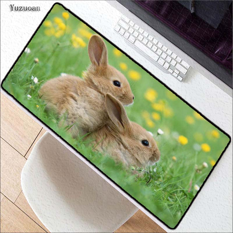 Yuzuoan нескользящим PC милый кролик цветок Офис Мыши компьютерные геймер мягкие Мышь Pad Размеры для 30x60 см 40x90 см резиновая Мышь Pad lockedge Мышь