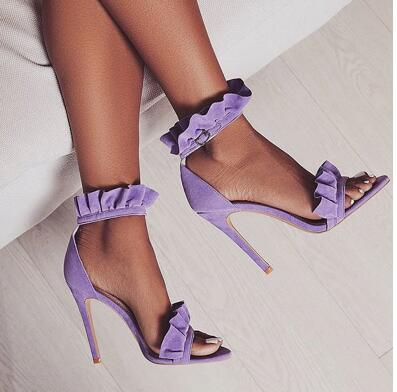 Hot Classics All Kinds of Colour Genuine Leather  Elastic band Shoe Cross-tied Front&Rear Strap  Shoel Thin Heels Women's Sandal