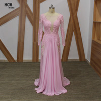 Arabic Style Long Sleeve Evening Dress 2018 Beaded Appliques Pink Mermaid Illusion Sexy Party Gowns Long African Evening Dresses